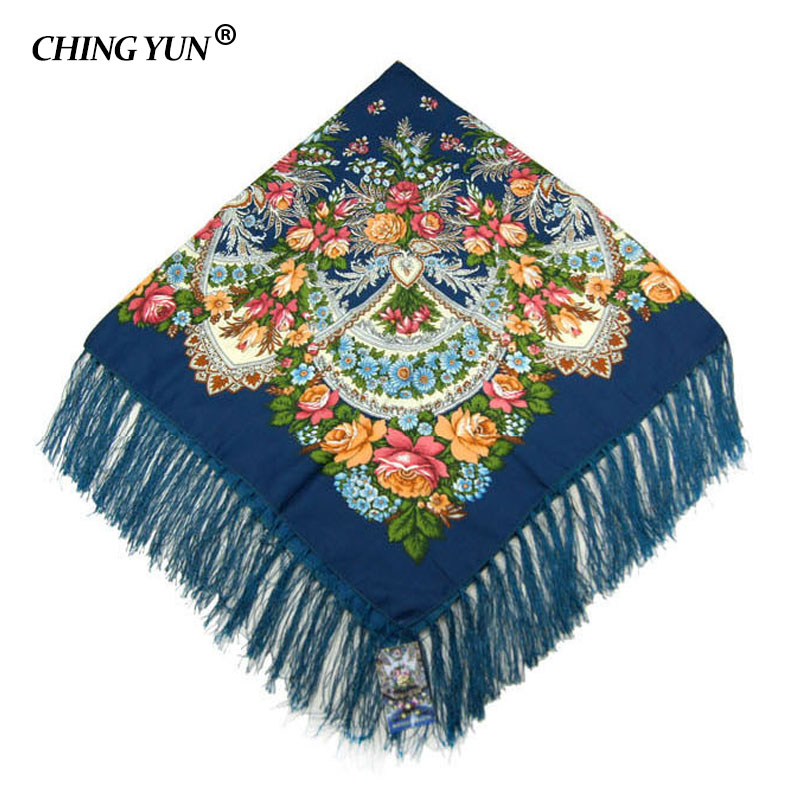 2019 Winter big   wraps   New Fashion women tassel   Scarf   Square Floral Printed Brand shawls ladies women cotton   scarves     wraps   113-3