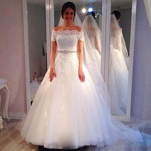 XGGandXRR 2018 Wedding Dress Short Sleeves Sweep Train