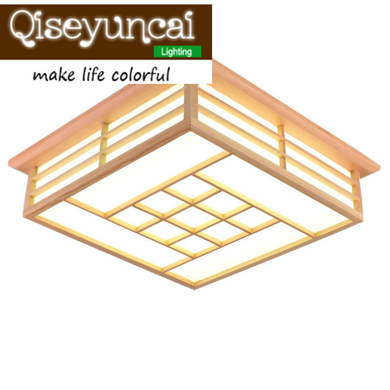 Qiseyuncai Solid wooden LED ceiling lamps sheepskin wooden ceiling lamps and Japanese tatami restaurant lighting circular ceiling wooden lighting lamps