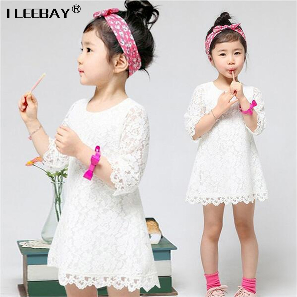 Baby Girls White Lace Mini Dress Girls Casual Dresses Cute Kids 2017 New Spring and Summer Fashion Clothing A-line Costume 2-5y new kids girls fashion o neck sleeveless dress cute animals print dress girls a line dress clear