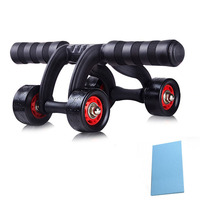 Ab Roller 4 Power Wheels Abdominal Muscle Trainer Exercise Equipment With Pad Abdominales Workout Fitness Rollers Gym Machine