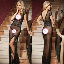 Hot Sale Promotion In Stock Sexy Lady Long Mesh Lingerie Gorgeous Gown with Slit Seductive Hot Black Sexy Lingerie