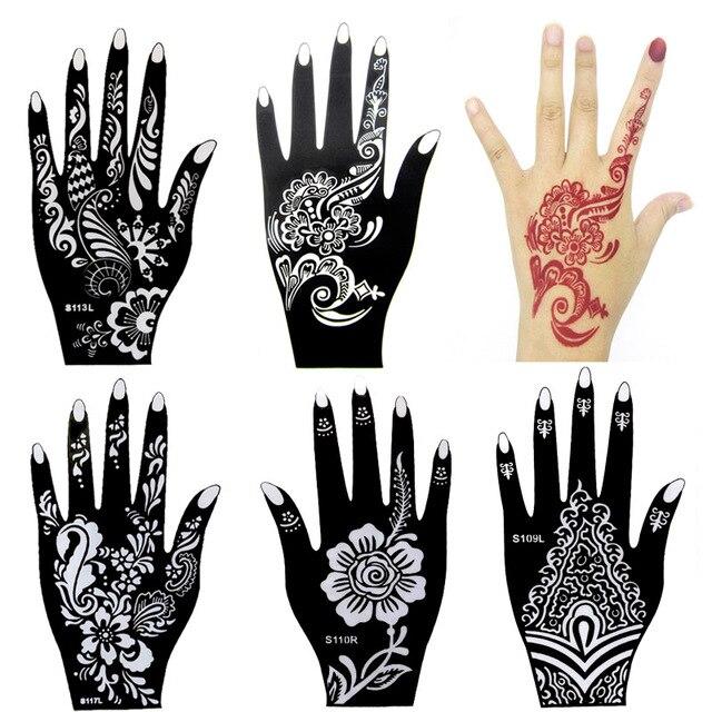 10 stücke Große Henna Tattoo Schablonen, blume Glitter Airbrush ...
