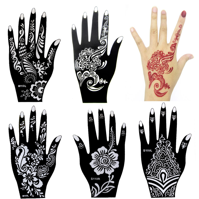 10pcs Large Henna Tattoo Stencils,Flower Glitter Airbrush Mehndi Indian Henna Tattoo Templates Stencil For Hand Painting 21*12cm