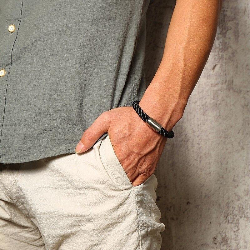 orologio 55b45 88808 US $3.99 45% di SCONTO|Scarpe da Arrampicata uomini Esplorare Corda Duro  Bracciale in Nero per Gli Uomini In Acciaio Inox Magnete Fibbia-in  Bracciali ...