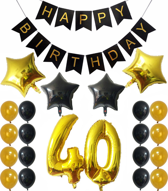 40th BIRTHDAY DECORATIONS BALLOONS BANNER Number 40 Gold Balloons With Black Latex Years Old Party Supplies