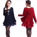 Autumn Clothing Maternity Pregnant Dresses Casual Faux Two Piece Knitted Basic Shirt Twinset Clothes For Pregnant Women M-XXXXL
