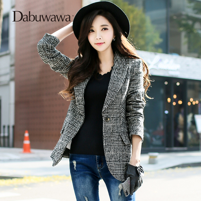 Dabuwawa Women Vintage Classic Plaid Suits Slim-Fit Woolen Single Breasted Formal Outwear Jacket for Office Lady Girl D18ALN00