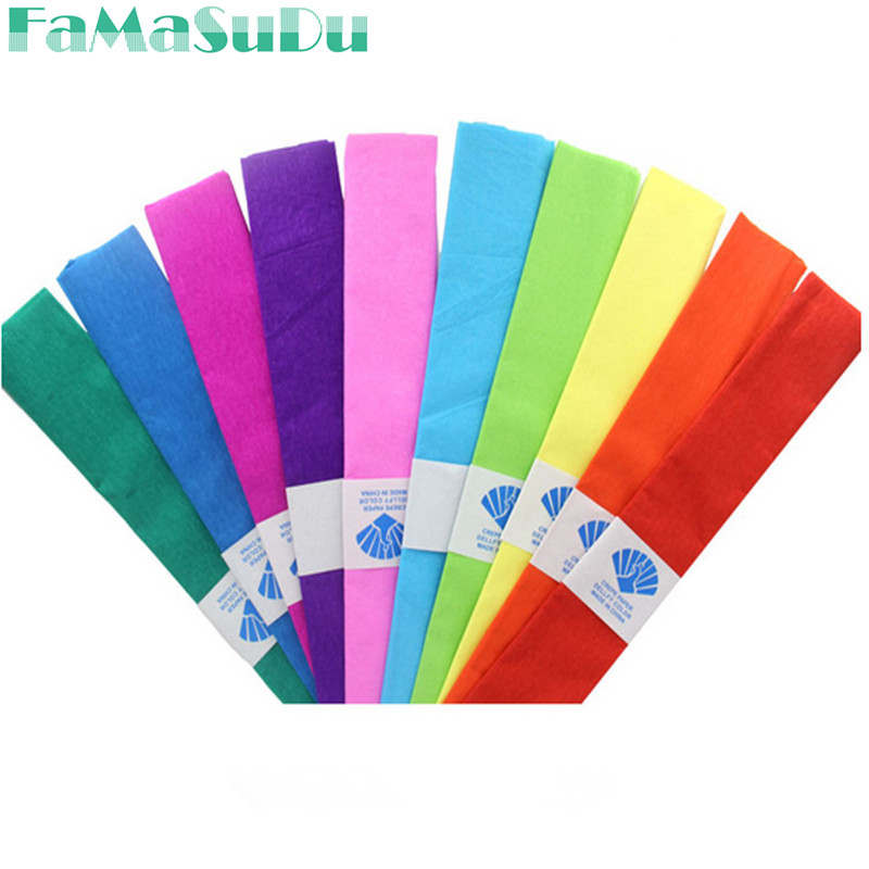 5pcs/lot 50*100cm Colored Crepe Paper Roll For DIY Flowers Decoration Gift Wrapping Paper Craft 8 Colors Available