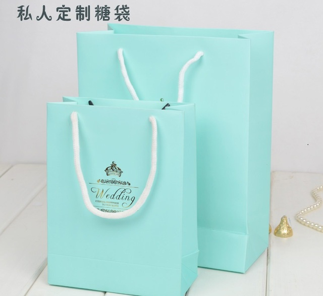Free Shipping Personalized Paper Tiffany Blue Handbag Wedding Souvenir Favor Gift Bag Guests Giveaway Candy Box 100pcs Whole