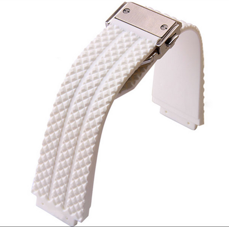 White Watchbands Silver Folding Clasp Watch Accessories 26mm x 19mm Watch lug Buckle 22mm The natural
