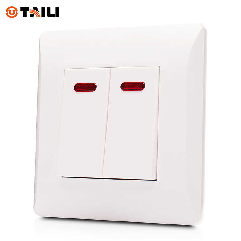 TAILI Brand Wall Switch 2 Gang 1 Way Panel Interrupteur Light Switch ...