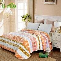 U miss весна и осень 100% полиэстеровый испанский чехол одеяло для кровати Sofo толстый прямоугольник взрослые мягкие сплошное фланелевое одеяло