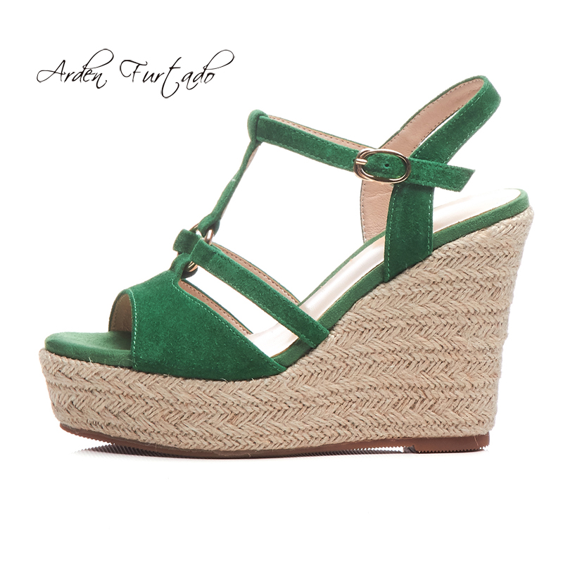 d97a44c615d US $45.12 6% OFF|Arden Furtado 2019 summer wedges sandals straw platform  green T strap peep toe casual shoes ladies high heels black suede new-in  High ...