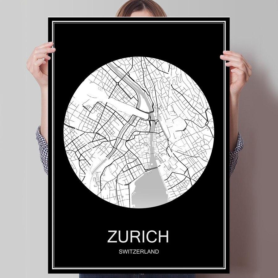 Schweiz Karte Schwarz Weiss.Us 1 99 Zurich Schweiz Schwarz Weiss Stadt Karte Drucken Plakat Druck Auf Papier Oder Leinwand Wandaufkleber Bar Cafe Wohnzimmer Home Dekoration In