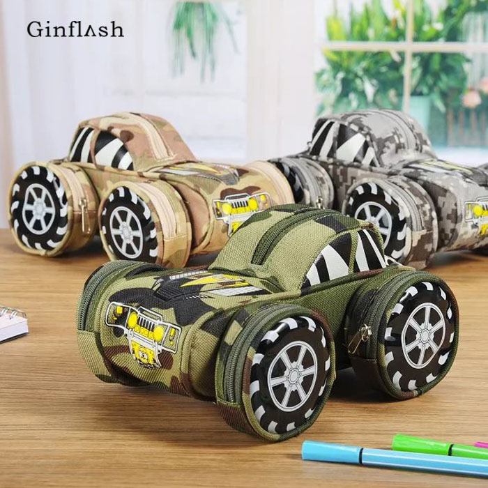 Portable Oxford Cool Camouflage Car Jeep Tank Style Large Pencil Case Pouch Bag Pen Holder School Supply Boys Girl With Lock