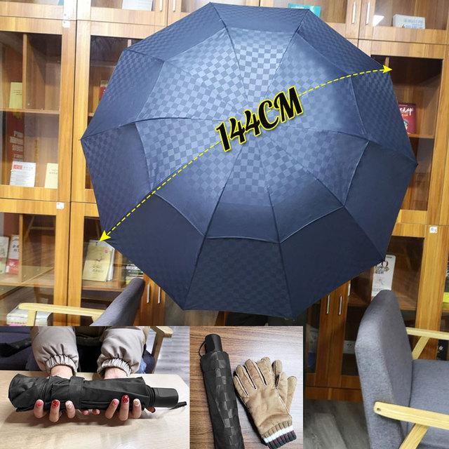 Double Layer Grid Big Umbrella Rain Women 4Folding 10Ribs Windproof Business Men Sun Umbrella Family Travel Paraguas Parasol