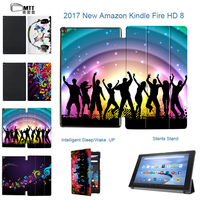 MTT Print Young Music Smart Case For Amazon Kindle New Fire HD 8 2017 Version Trifold