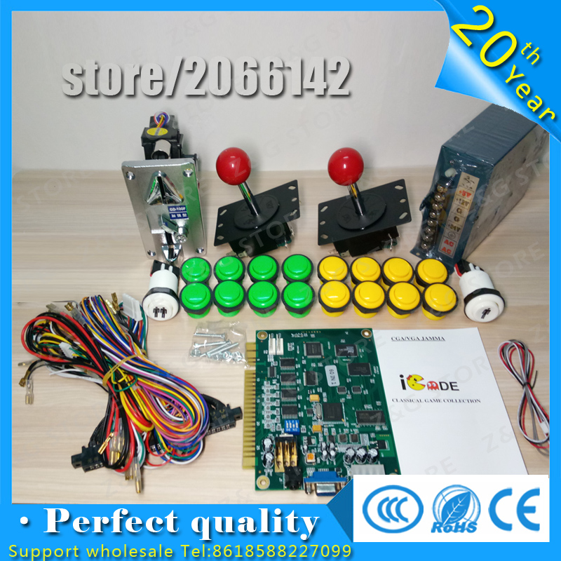 DIY JAMMA arcade game 60 in 1 game PCB kit parts 24Vpower supply,speaker, joystick,Green red yellow push button,jamma wire,feet diy arcade game kit jamma game pcb 60 in 1 28pin wire harness power supply for crt lcd 60 in 1 arcade video game machine