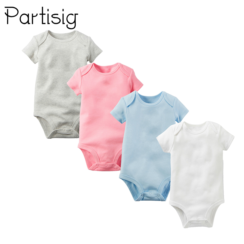 Summer Baby   Romper   Cotton Short Sleeve Triangle   Romper   For Baby Boy And Girl Plain Solid Color Summer Baby Clothes