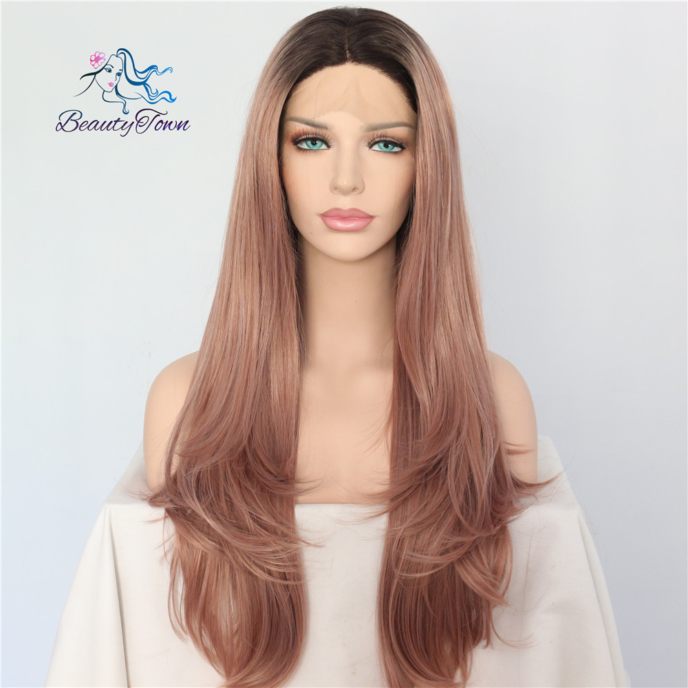 BeautyTown Black Ombre Peach Pink Heat Resistant Hair Hand Tied Perruque Daily Synthetic Lace Front Wig