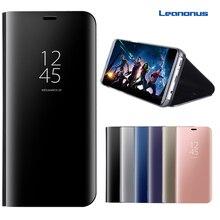 S7 край S8 плюс Smart View Флип Чехол для Samsung Galaxy S8 + S8Plus очистить поверхность Зеркало чехол для телефона Стенд кожа + PC чехол