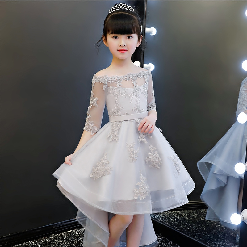 Children Girls New Princess Shoulderless Gray Color Birthday Holiday Party Tail Dress Babies Kids Host Tutu Pageant Mesh Dress
