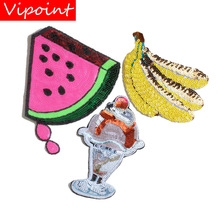 embroidery sequins watermelon patches for jackets,banana badges jeans,appliques coats A211