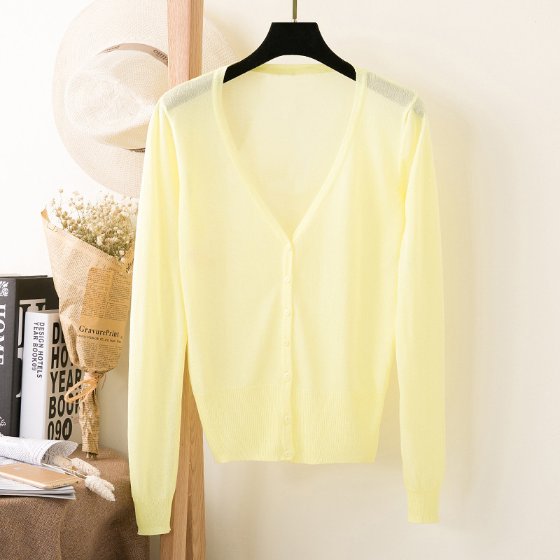 Zoe Saldana 2018 Summer Thin Sweaters Cardigan Women Long Sleeve V-neck Sunscreen Candy Color Casual CardiganS Coat