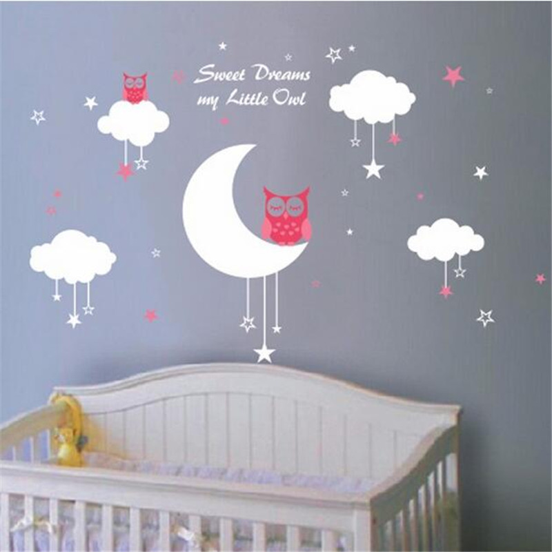 Aliexpresscom Buy C Nursery Wall Decals Baby Owls For Sweet - Wall decals for girls