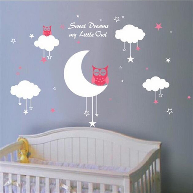 C007 Nursery Wall Decals Baby Owls For Sweet Dreams With Clouds And Stars Vinyl S