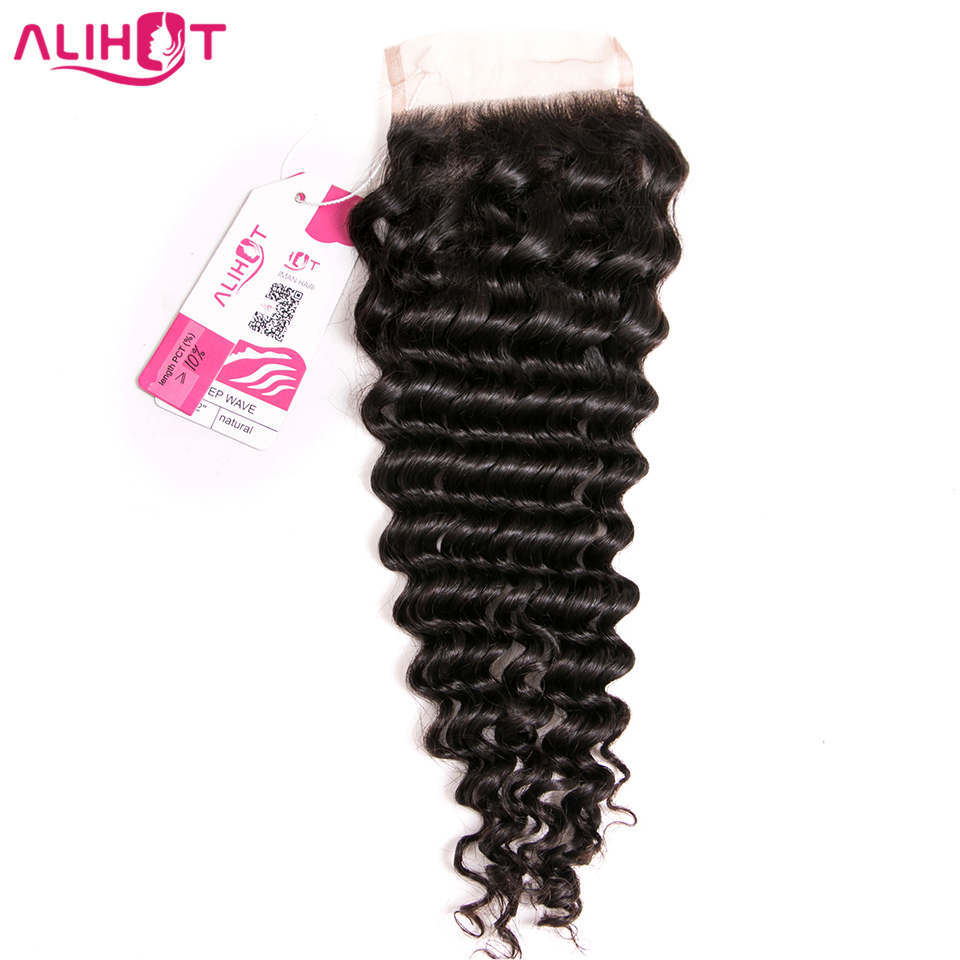 ALI HOT Brazilian Deep Wave Free Part Lace Closure 4*4inch Lace Size 100% Human Hair Remy Hair Natural Color Free Shipping