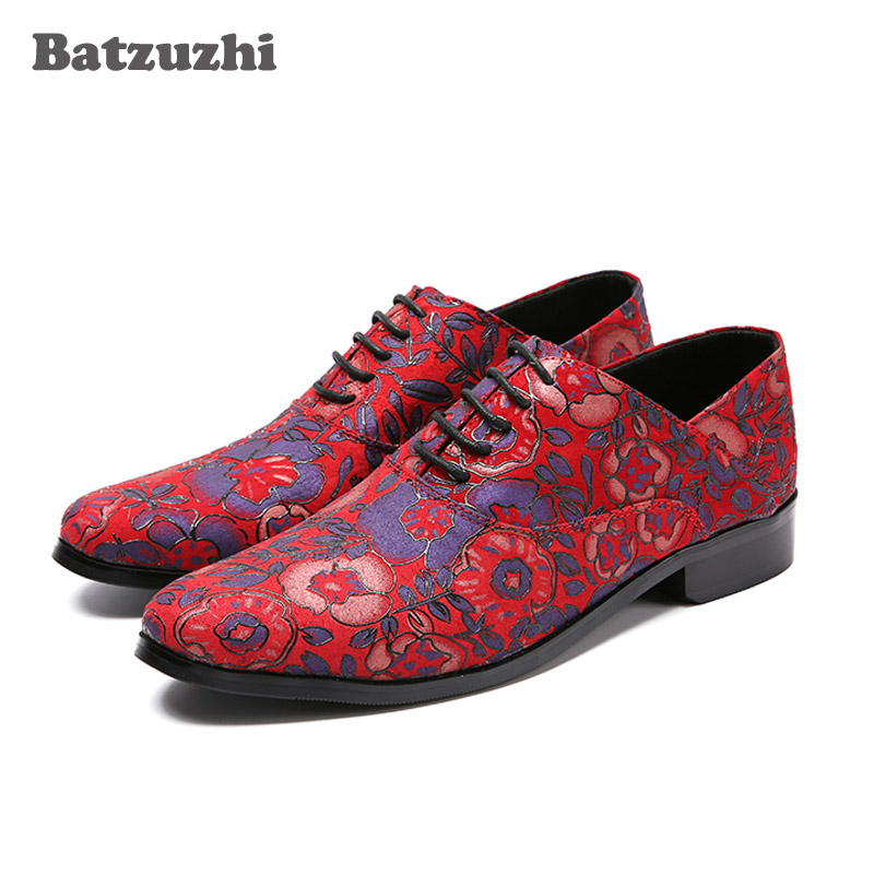 Batzuzhi Italian Style Red Mens Shoes Red Print Flowers LEATHER Casual Shoes Men High-end Men Shoes Luxury Fashion Men Loafers men leather shoes casual 2017 spring summer fashion shoes for men designer shoes casual breathable mens shoes comfort loafers
