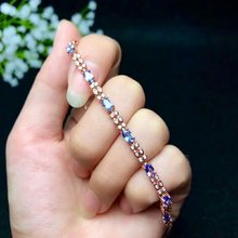 shilovem 925 silver sterling real Natural sapphire Bracelets fine Jewelry trendy  gift new 3*5mm plant bl030501agl