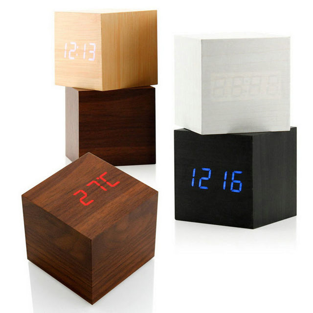 13 Colors New Modern Cube Wooden Wood Digital LED Table Voice Control Alarm Clock Thermometer