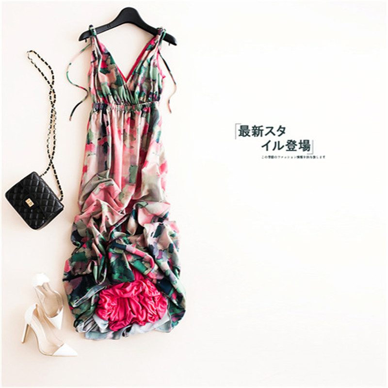 New chiffon, seaside seaside resort, long skirt, large pendulum print dress woman V collar and thin sandy beaches все цены