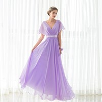 Elegant Purple Bridesmaid Dress New Arrival Long In Stock Chiffon Wedding Party Gown Plus Size