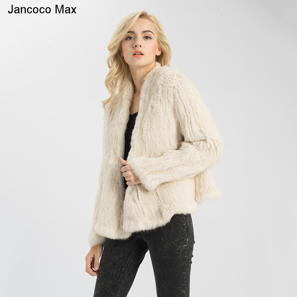 Jancoco Max S1340 11 Colours Thick Knitted Real Rabbit Fur Jacket Women Winter Warm Fashion / Lady Fur Coat