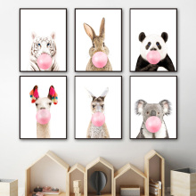 Tiger panda Koala rabbit Llama kangaroo Wall Art Canvas Painting Nordic Posters And Prints Pictures Baby Kids Room Decor