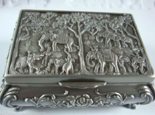 Beautiful tibet silver carved elephant jewelry box MM free shipping