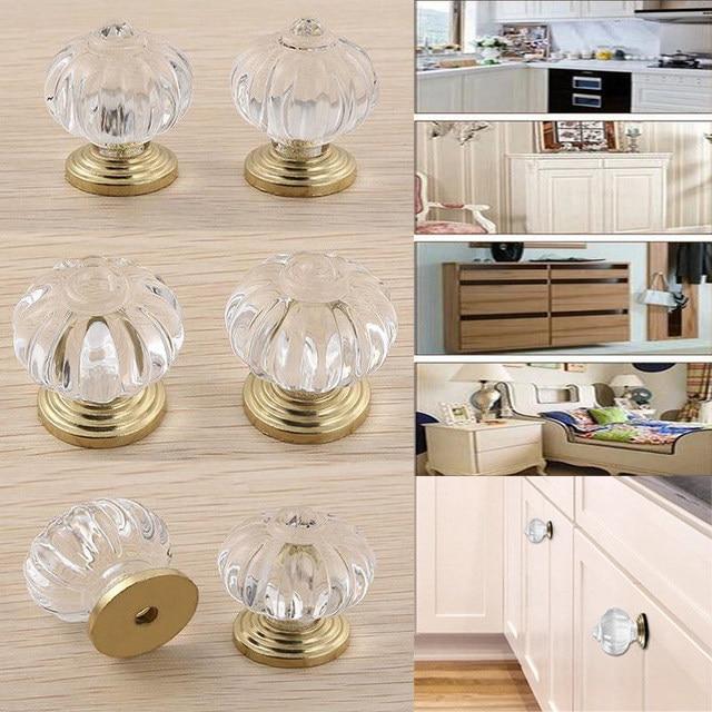 Online Shop 5pcs 25mm Clear Crystal Glass Cabinet Door Knob Cupboard