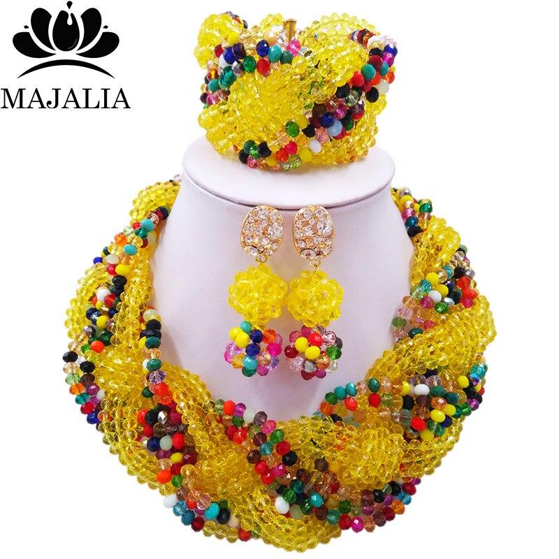 Majalia Africain Classique Femmes Bijoux Ensemble Jaune Multicolore Mariage Nigérian Bijoux Ensembles 12CB0026