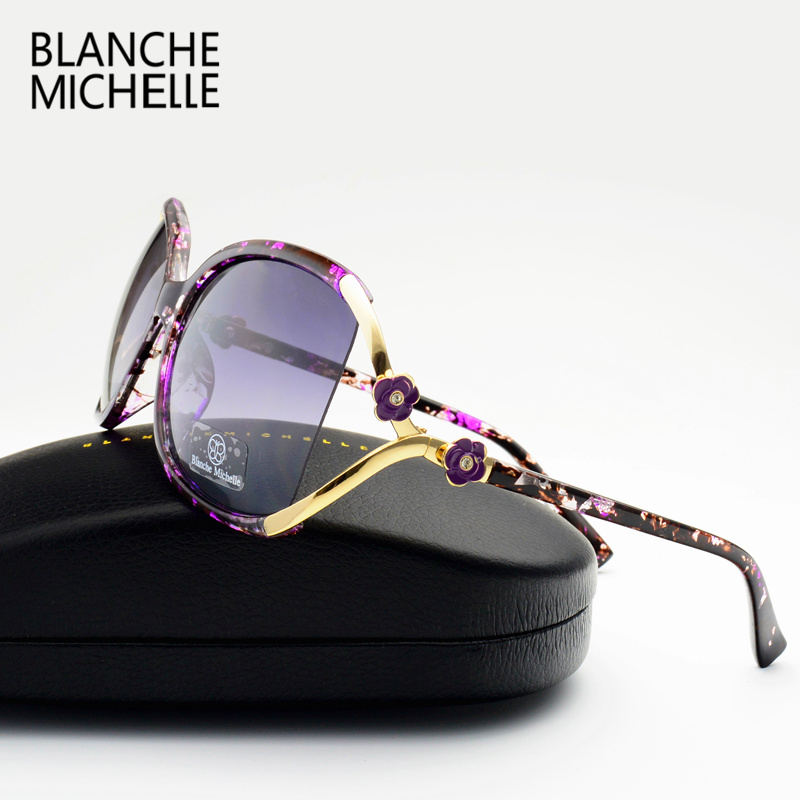 Vintage Flower Polarized Sunglasses Women Brand Designer 2018 Luxury Uv400 Oversized Sun Glasses Spots Oculos Feminino With Box