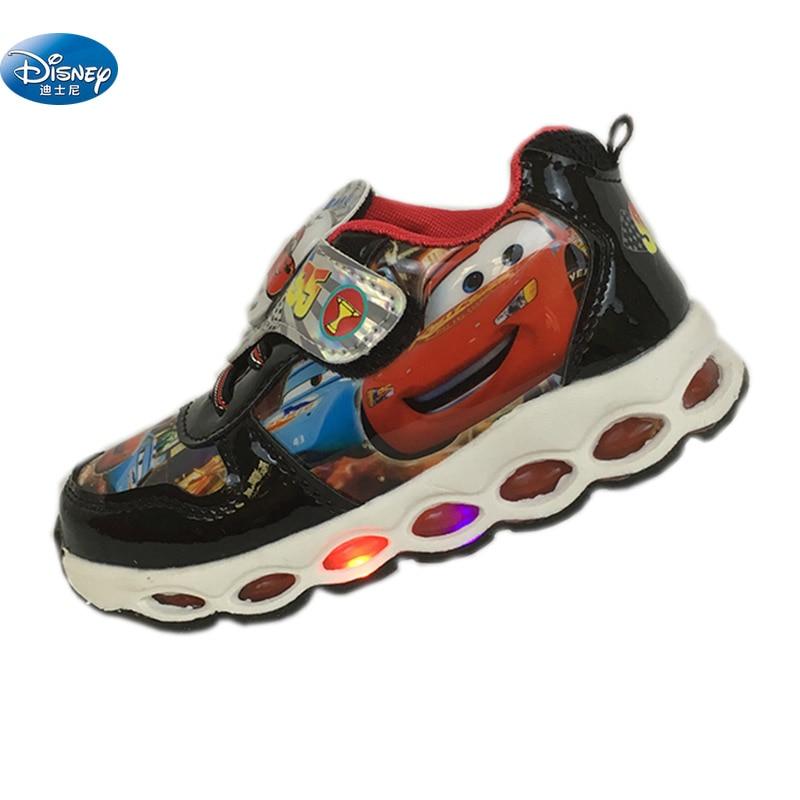 Disney cars team 95 Casual Shoes Spring summer lights flash LED 2108 boys cartoon school student Sneaker Europe size 28-33 2108
