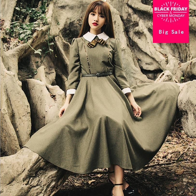 Hot sale 2018 high quality spring new College style retro vintage theatrical gentle big swing dress free shipping w287