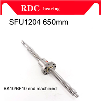 Hot mechined 12mm 1204 Ball Screw Rolled C7 ballscrew SFU1204 650mm with one 1204 flange single ball nut for CNC parts