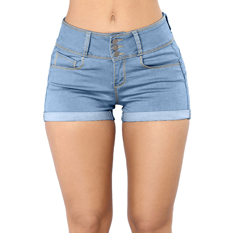 SEBOWEL Light Blue White Black Mid Rise Triple Button Stretch Denim Shorts Woman Summer Female Basic Casual Cuffs Short Jeans in Jeans from Women 39 s Clothing