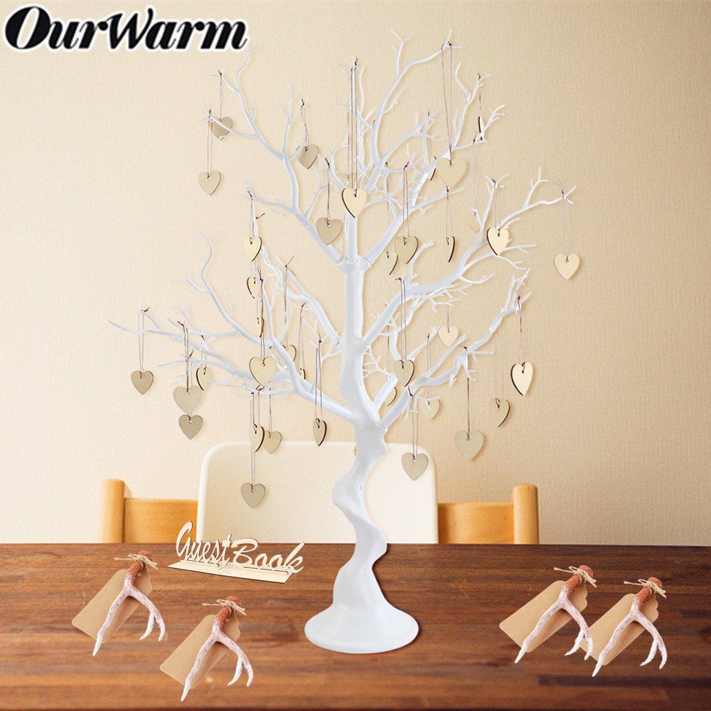OurWarm Wedding Guest Book Tree Resin Artificial Wishing Tree Wooden Heart Pendant Rustic Party Favor Wedding Table Decoration