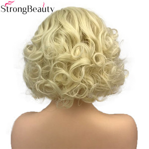 Image 4 - StrongBeauty Short Curly Synthetic Wigs Heat Resistant Blonde Hair Women Wig