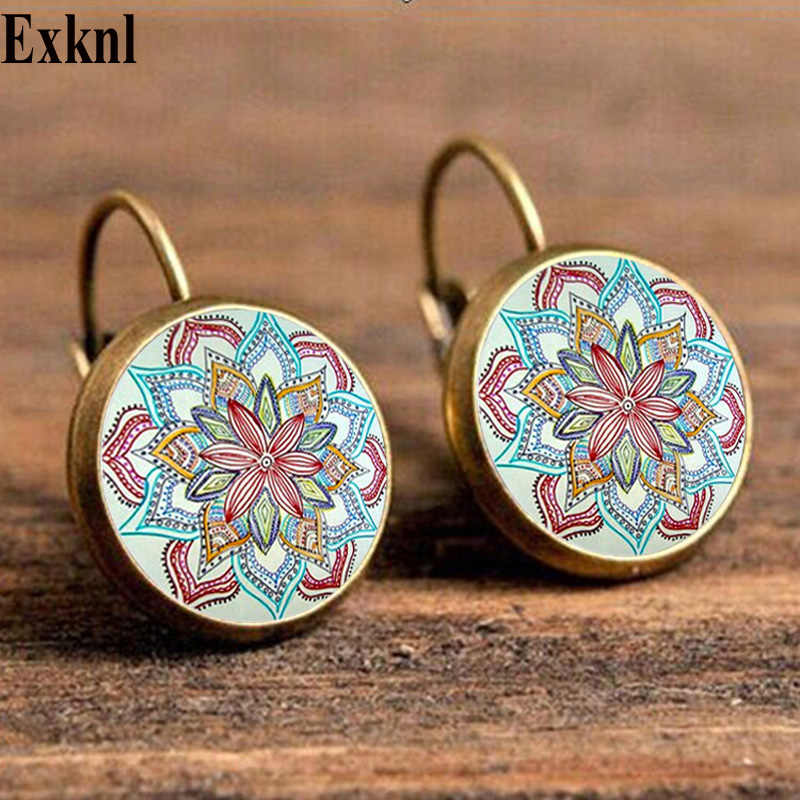 Exknl Boho Flower Drop Earrings For Women Vintage Jewelry Geometric Pattern Round Earings Bijoux boucles d'oreilles bohemia